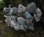 Larimar - náhrdelník krátký s omletými kameny
