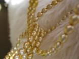 Perly zlatavé - souprava náhrelník - náramek