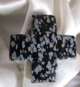 Obsidián sněžný - přívěšek kelstký kříž příčně vrtaný