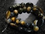 Sokolí oko - náhrdelník s oválky a kuličkami